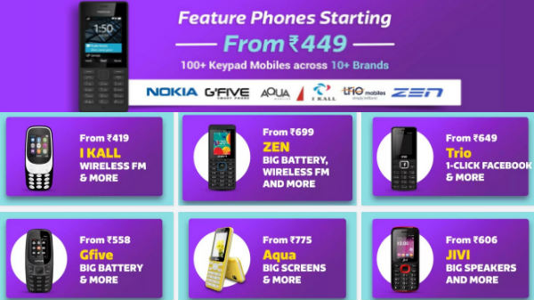 Feature phones starting at Rs 449 from Nokia, Intex, Zen, iKall, Gfive