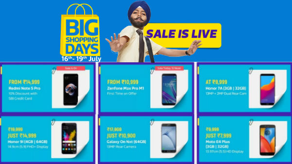 Flipkart Big Shopping Day: Honor 7A, Redmi Note 5 Pro, Pixel 2, Mi MIX 2, Moto Z2 Force and more