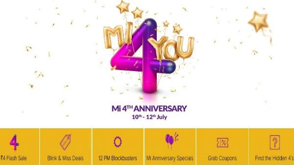 Xiaomi 4th Mi anniversary sale: Rs. 4 flash sale on smartphones