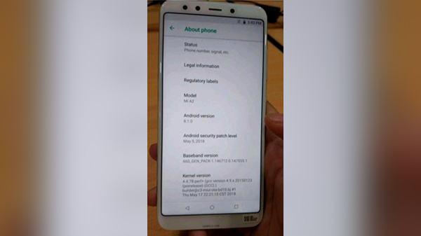 Xiaomi Mi A2 launch imminent, as the phone was briefly spotted online