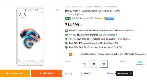 Now buy Xiaomi Redmi Note 5 Pro for as low as Rs 649