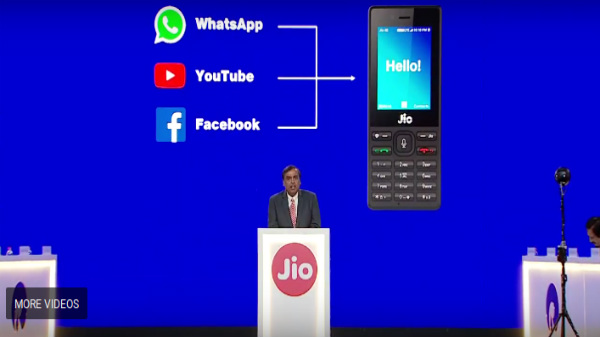 YouTube, Whatsapp, and Facebook will be available on JioPhone