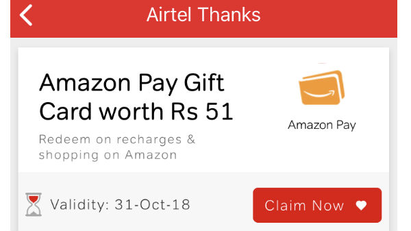 Here's how you can avail Amazon gift card worth Rs 51 via Airtel app