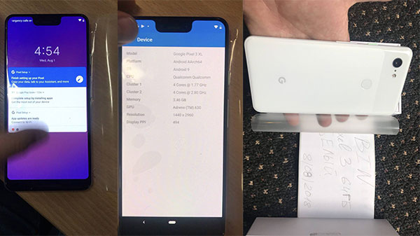 Google Pixel 3XL live images confirms a notched display and Android 9