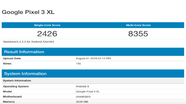 Google Pixel 3 XL Running on Android 9 spotted on Geekbench