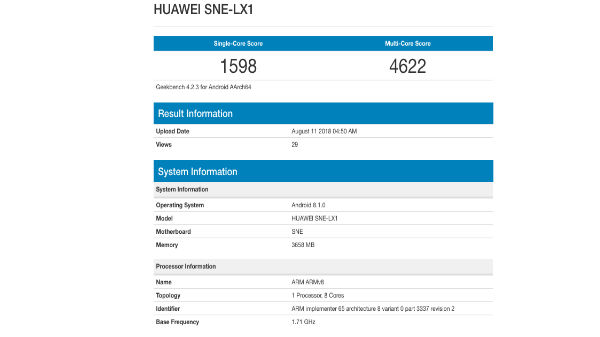 Huawei Mate 20 Lite spotted on benchmark with 4GB RAM and Kirin 710