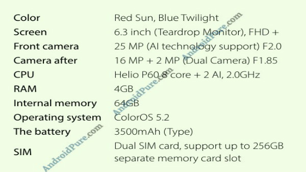 Oppo F9 specs leaked, tipped to have 25MP selfie camera