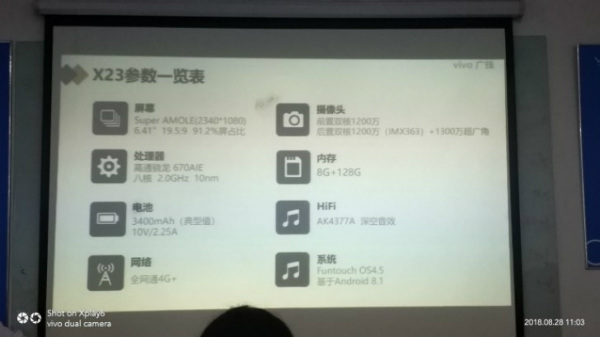 Vivo X23 specifications out by leaked presentation slide