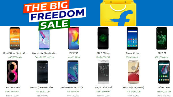 Flipkart's Freedom sale offers on Galaxy on8, Mi A1, Moto G6 and more