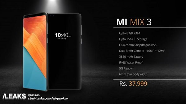 Xiaomi Mi Mix 3 render sans bottom bezel surfaces online