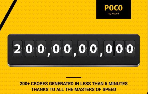 Xiaomi Poco F1 collects 200 crores in India: Sold-out in minutes