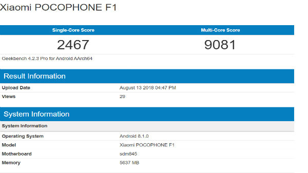 Xiaomi Pocophone F1 visits Geekbench: Faster than the Galaxy Note9