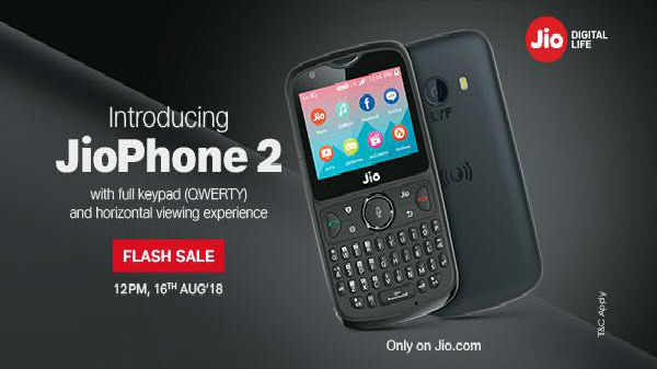 JioPhone 2 will be available in a flash sale on 16th August