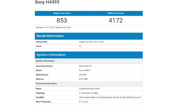 Sony XA3 with Snapdragon 660 and 6GB RAM spotted at Geekbench