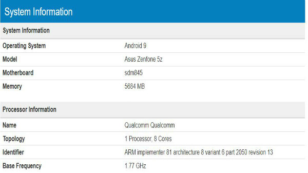 Asus ZenFone 5z with Android 9 Pie spotted on Geekbench