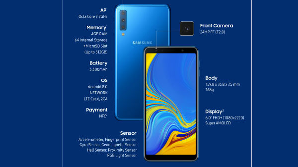 Samsung Galaxy A7 (2018) goes official with triple cameras and more