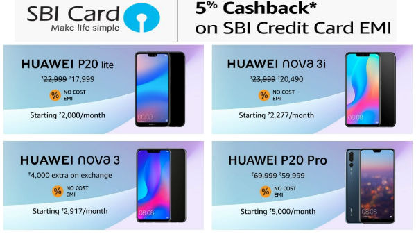 Amazon offers cashback, no cost EMI, discount on Huawei phones