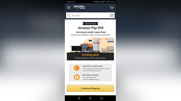 How to register and use Amazon Pay EMI feature within the app