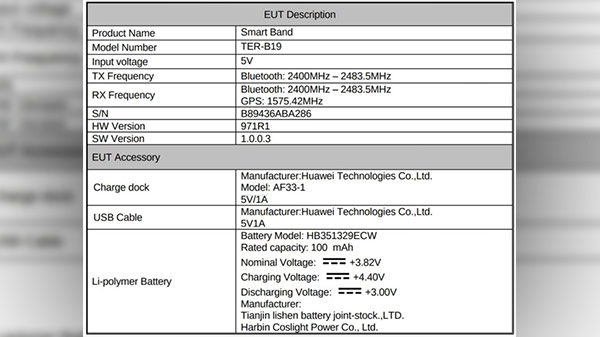 Huawei Band 3 spotted on FCC; key specifications revealed
