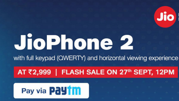 JioPhone 2 flash sale on 27th of September: Offers and features