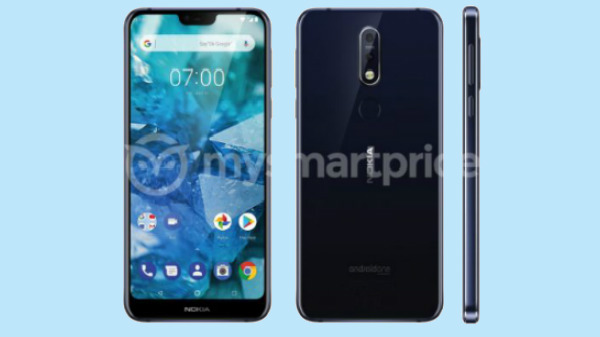 Nokia 7.1 Plus render shows dual rear cameras and waterdrop notch