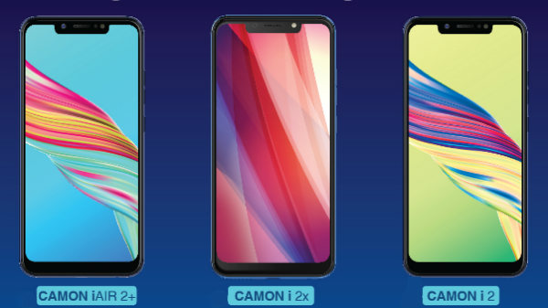 Tecno Camon iAir 2+, Camon i2X and Camon i2 launched in India