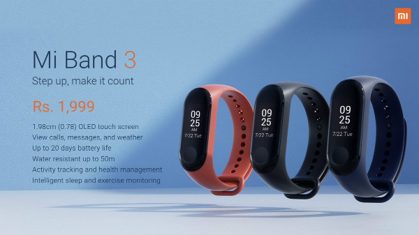 Xiaomi Mi Band 3 officially launched in India for Rs 1,999
