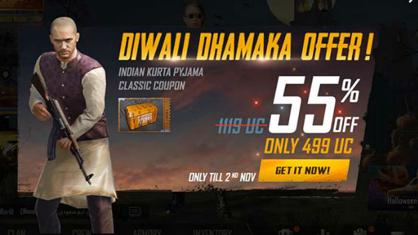 PUBG Mobile celebrating Diwali with kurta pyjama outfit and more