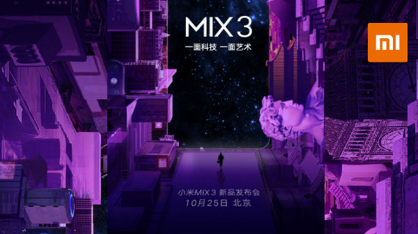 Xiaomi Mi MIX 3 will launch on the 25th of October: Expected to cost Rs 34,000