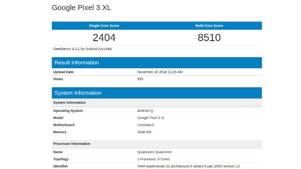 Android Q on Google Pixel 3 XL spotted on Geekbench