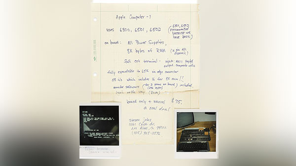 Hand-written Apple ad by Steve Jobs will be up for auction at $75