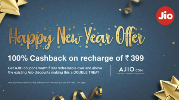 Jio Happy New Year Offer: Get 100% cashback on Rs. 399 recharge