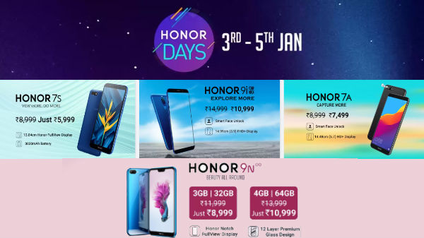 Flipkart Honor Days (Jan 3rd to 5th): Avail discounts on smartphones