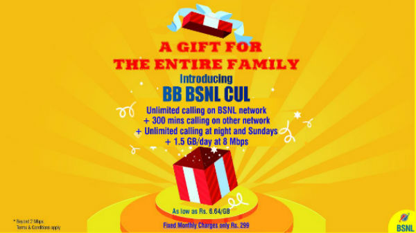 BSNL offers 1.5GB data per day with Rs. 299 broadband plan