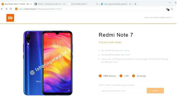No, Redmi Note 7 is not available on mi.com for Rs 14,999
