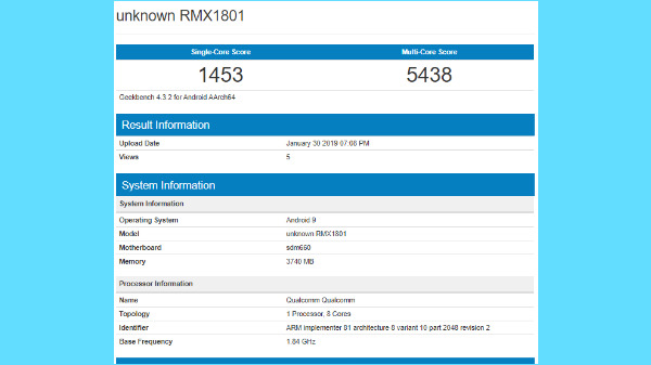Realme 2 Pro with Android Pie stops by Geekbench