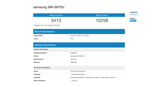 Samsung Galaxy S10+ with Qualcomm Snapdragon 855 SoC visits Geekbench