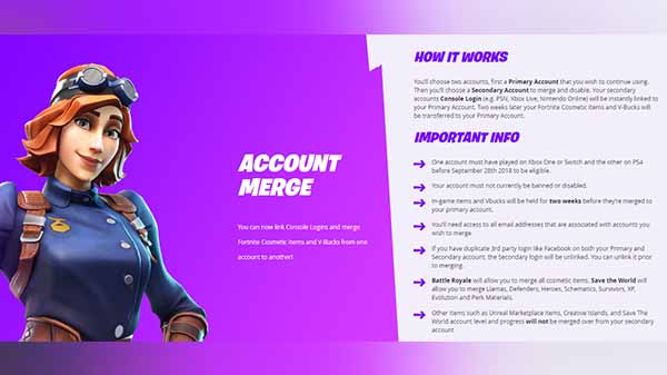 Fortnite started rolling account merger feature for consoles