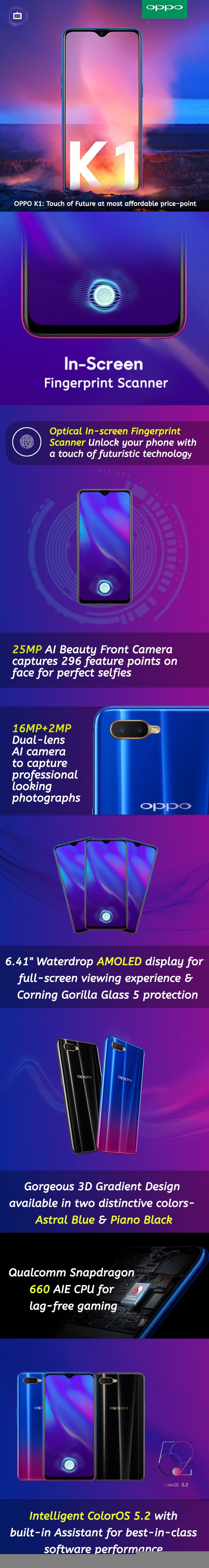 OPPO K1: Touch of Future at most unbelievable price-point