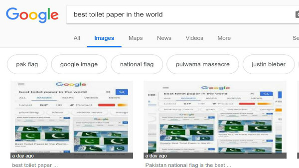 "Pakistan Flag is show as the ""Best Toilet Paper In The World"" on Google"