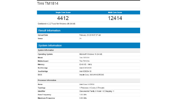 New Xiaomi Mi NoteBook with Intel Core-i5 spotted on Geekbench