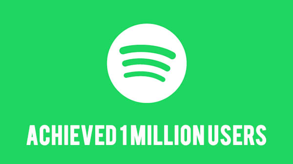 Spotify music streaming service clocks 1 million users in a week