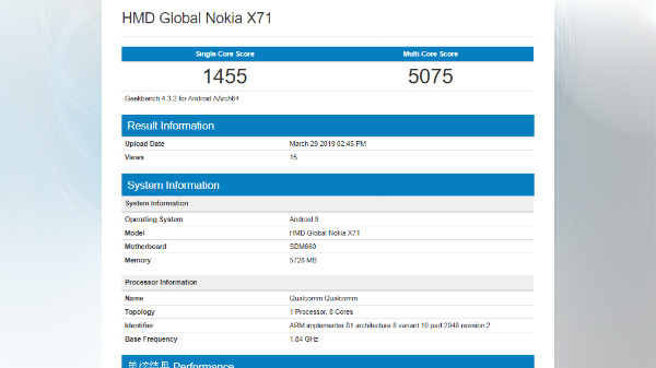 Nokia X71 Geekbench listing hints at Snapdragon 660 SoC