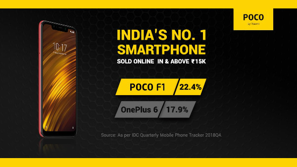Poco F1 dethrones OnePlus 6 as the best selling smartphone online: IDC