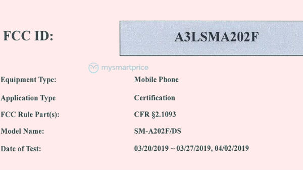 Samsung Galaxy A20e gets FCC certificatied with 5.84-inch HD+ display