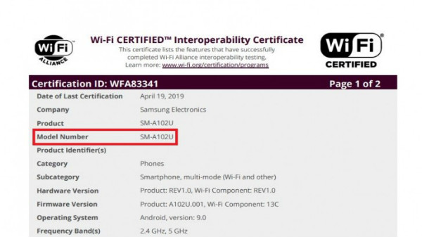 Samsung Galaxy A10e spotted on WiFi certification site
