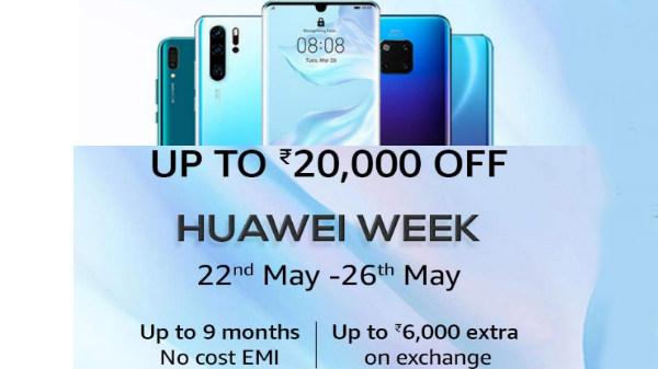Amazon Huawei Week: Upto Rs 20000 off, No EMI Cost, Exchange offers
