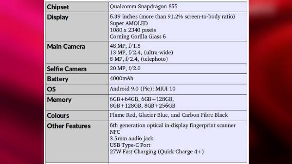 Flagship Redmi K20 Pro specs leak: First Redmi smartphone with GG6