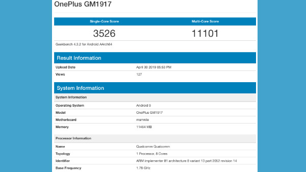 OnePlus 7 Pro spotted on Geekbench with a whopping 12 GB RAM