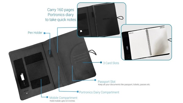Portronics Power Wallet 10K: Travel-Organizer With Built-in Power Bank